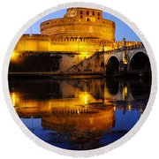 Castel Sant'angelo And The Tiber River Round Beach Towel