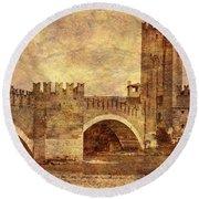 Castel Vecchio And Bridge In Verona Italy Round Beach Towel