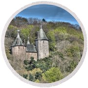 Castell Coch Cardiff Painterly Round Beach Towel