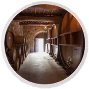 Castelle Di Amorosa Barrel Room Round Beach Towel by Scott Campbell