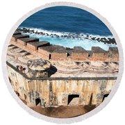 Castillo De San Cristobal San Juan Puerto Rico Round Beach Towel