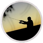 Casting Silhouette Round Beach Towel