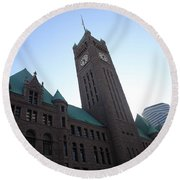 Castle And Clock Tower Round Beach Towel