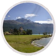 Castle And Mountain Round Beach Towel