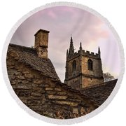 Sunset At Castle Comb Church - Wilshire England Round Beach Towel