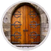 Castle Door Round Beach Towel by Carlos Caetano