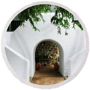 Castle Entrance Round Beach Towel