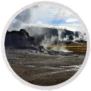Castle Geyser In Yellowstone National Park Round Beach Towel