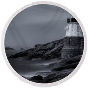 Castle Hill Lighthouse Bw Round Beach Towel