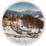 castle in northen Slovakia Round Beach Towel