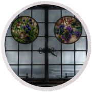 Castle In The Clouds Stained Glass To Winnipesaukee - Greeting Card Round Beach Towel