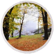 Castle In The Fog Round Beach Towel
