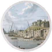 Castle In The Island Of Tortosa, 1805 Round Beach Towel
