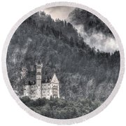 Castle Neuschwanstein  Round Beach Towel