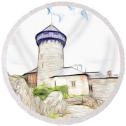 castle of the holy order - Sovinec castle Round Beach Towel