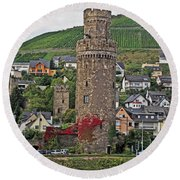 Castle Of The Rhine Round Beach Towel