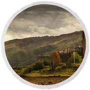Castle On A Hill Kyle Of Lochalsh Round Beach Towel