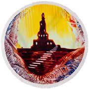 Castle Rock Silhouette Painting In Wax Round Beach Towel
