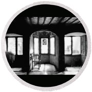 Castle Room With Chair Bw Round Beach Towel