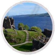 Castle Ruins On Loch Ness Round Beach Towel