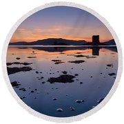 Loch Laich And Castle Stalker Round Beach Towel
