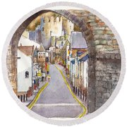 Castle Street Conwy North Wales Round Beach Towel