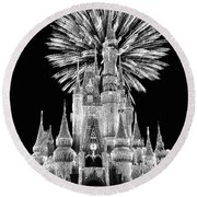 Castle With Fireworks In Black And White Walt Disney World Round Beach Towel