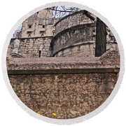 Castle With Poppies Round Beach Towel