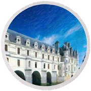 Castles Of France Round Beach Towel