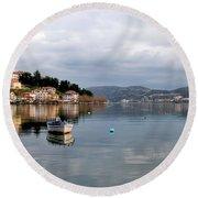 Kastoria Lake In Greece Round Beach Towel