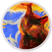 Cat Abstract Art Round Beach Towel by Pixel Chimp