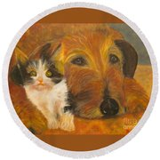 Cat And Dog Original Oil Painting  Round Beach Towel