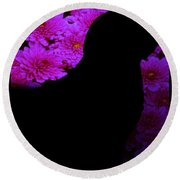 Cat And Flowers Midnight Silhouette Round Beach Towel