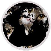Cat Eyes World Map 2 Round Beach Towel