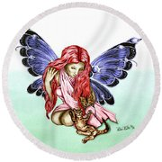 Cat Fairy In Blue  Round Beach Towel