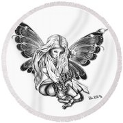Cat Fairy  Round Beach Towel