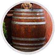 Cat Guarding A Wine Barrel In Alsace Round Beach Towel