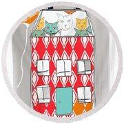Cat House Round Beach Towel by Linda Woods