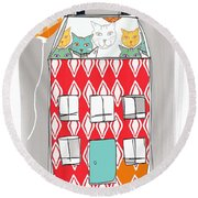 Cat House Round Beach Towel