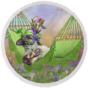 Cat In Calla Lily Hat Round Beach Towel