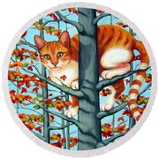 Orange Cat In Tree Autumn Fall Colors Round Beach Towel