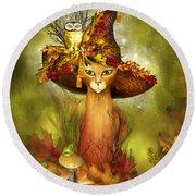Cat In Fancy Witch Hat 3 Round Beach Towel