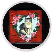 Cat In Heart Wreath 1 Round Beach Towel