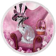 Cat In Mad Hatter Hat Round Beach Towel by Carol Cavalaris