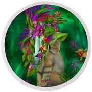 Cat In Tropical Dreams Hat Round Beach Towel