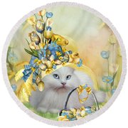 Cat In Yellow Easter Hat Round Beach Towel