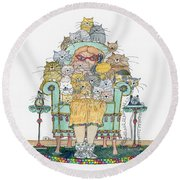 Cat Lady - In Chair Round Beach Towel by Mag Pringle Gire