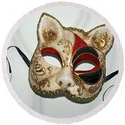 Cat Masquerade Mask On White Round Beach Towel