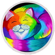 Cat Napping 2 Round Beach Towel