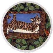 Cat Napping Round Beach Towel
